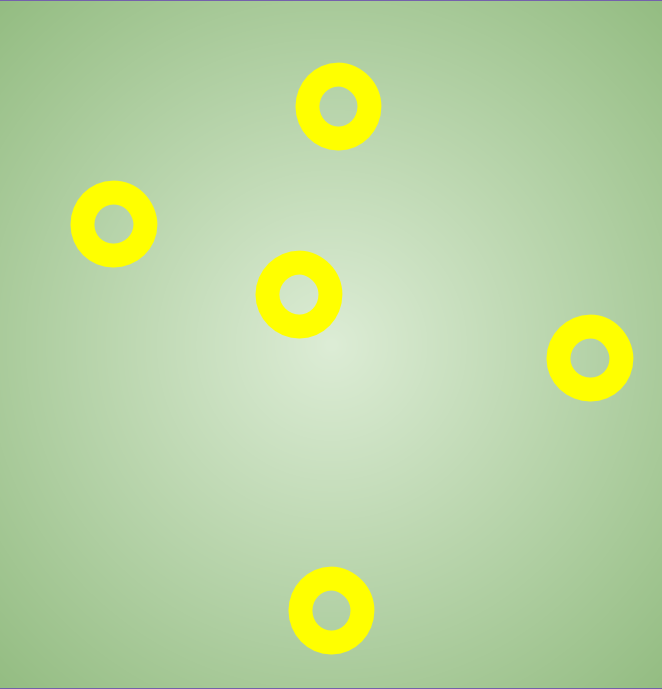 A pattern of yellow circles on a green background.