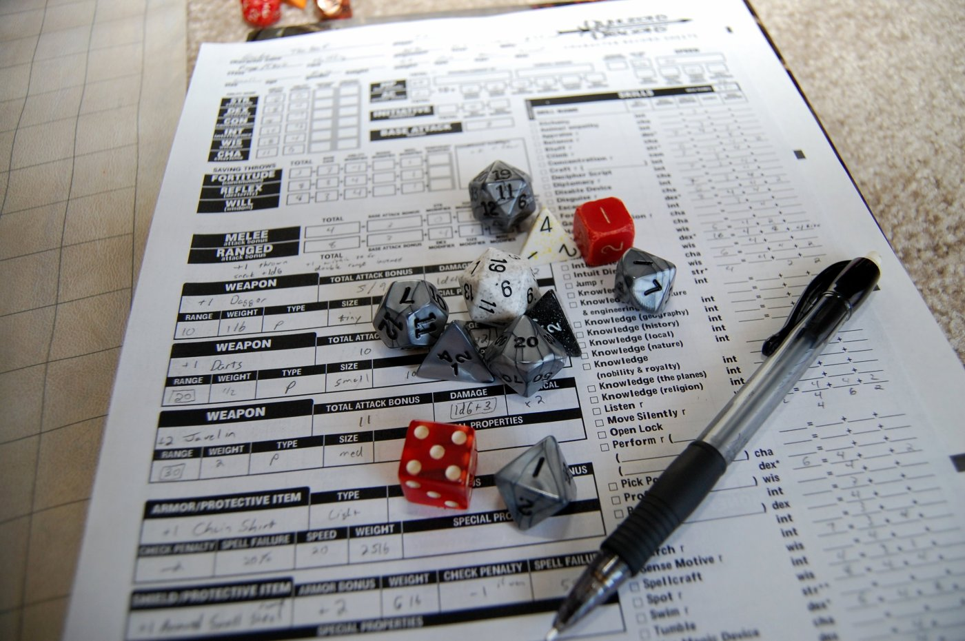 Roleplaying character sheet, dice, and a pen. Image by James Jones on Wikimedia Commons.