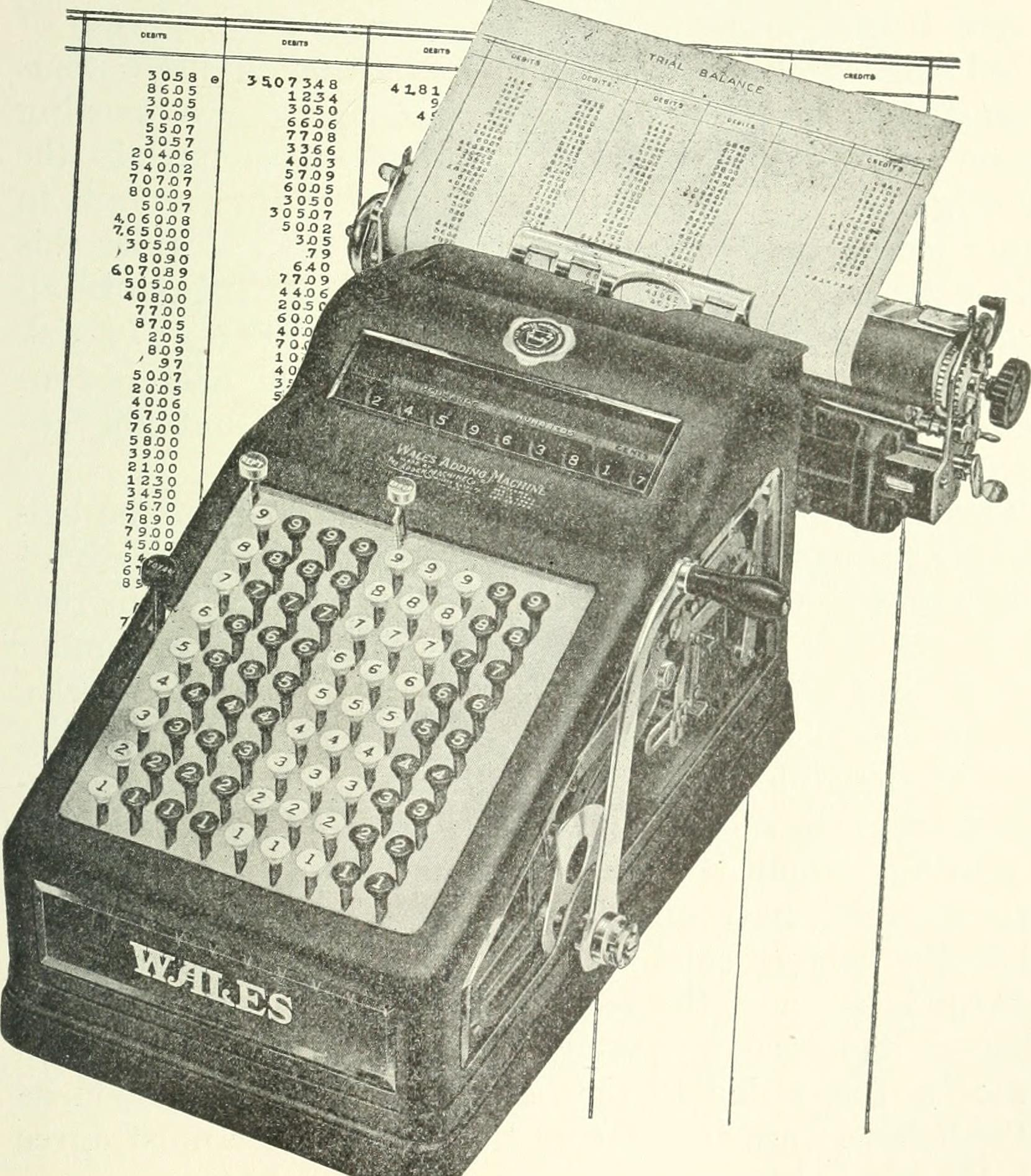 Illustration of an analog numeric typewriter, superimposed on a paper chart of printed numbers.