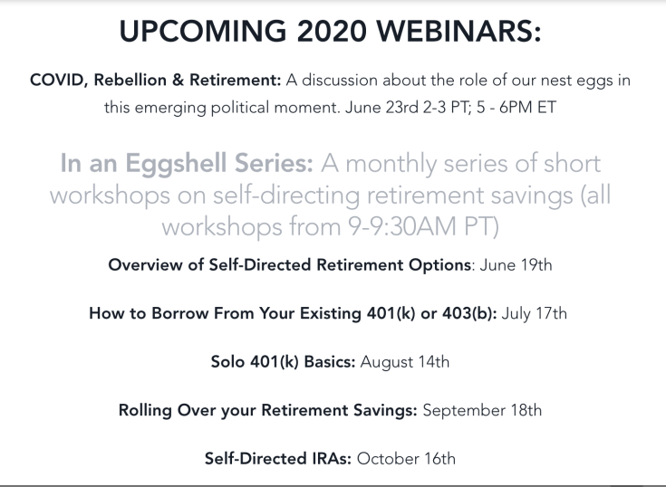A screen shot of the The Next Egg's upcoming seminars in self-directed retirement investment in your community. Text in caption.
