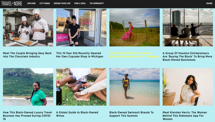 Screen capture of Travel Noire's Black-owned Businesses feature page.